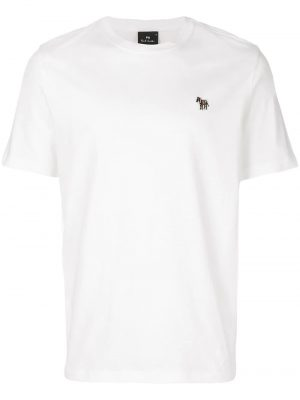 Men t-shirt à patch logo brodé blanc