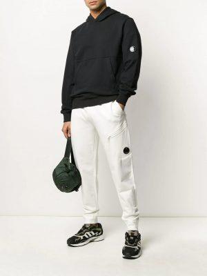 CP Company pantalon de jogging à plaque logo blanc