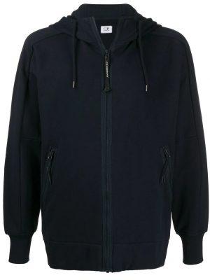 CP Company sweat zippé à capuche bleu