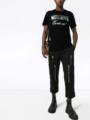 Men t-shirt à logo métallisé noir