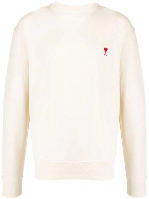 AMI Paris sweat à détail de patch logo Ami De Cœur blanc