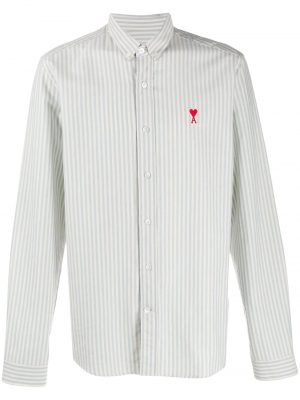 AMI Paris chemise à patch logo Ami De Cœur bleu