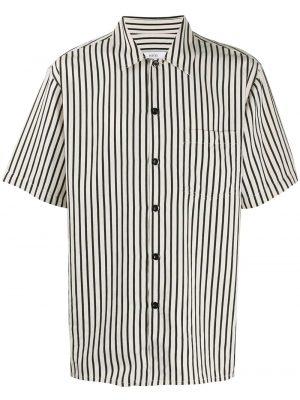 AMI Paris chemise rayée à manches courtes noir