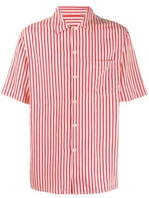 AMI Paris chemise rayée à manches courtes rouge