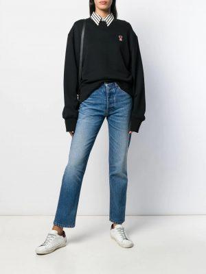 AMI Paris femme sweat à détail de patch logo Ami De Cœur noir