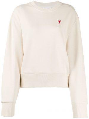 AMI Paris femme sweat à détail de patch logo Ami De Cœur blanc