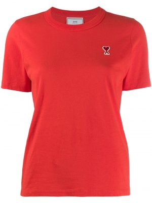 AMI Paris femme t-shirt à patch logo rouge