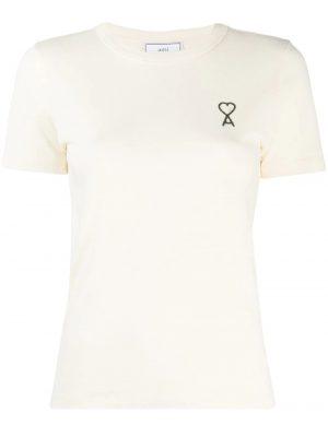 AMI Paris femme t-shirt à logo brodé blanc