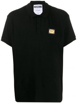 Men polo à patch logo noir