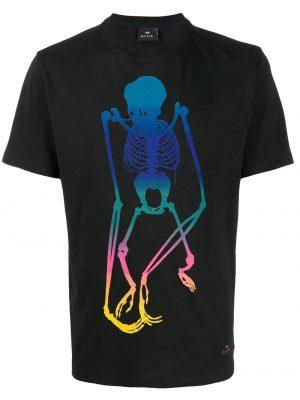 Men t-shirt à imprimé squelette noir