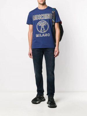 Men t-shirt à grand logo devant Milano bleu