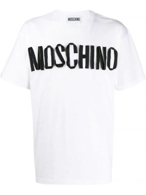 Men t-shirt ample à logo blanc