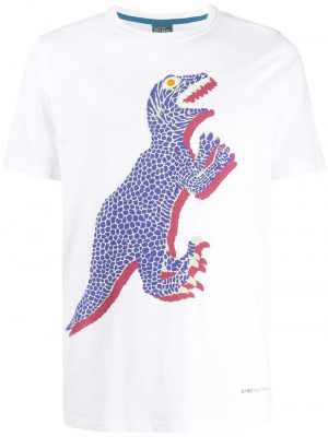 Men t-shirt imprimé Dino blanc