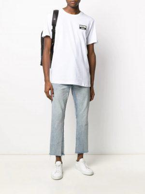 t-shirt à patch logo blanc