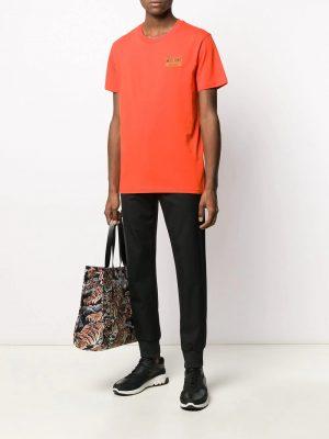 Men t-shirt à patch logo orange