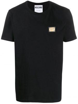 Men t-shirt à plaque logo noir