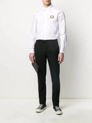 chemise à plaque logo blanc