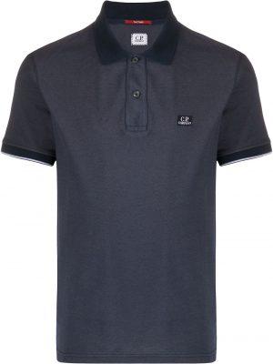 CP Company polo à logo brodé bleu
