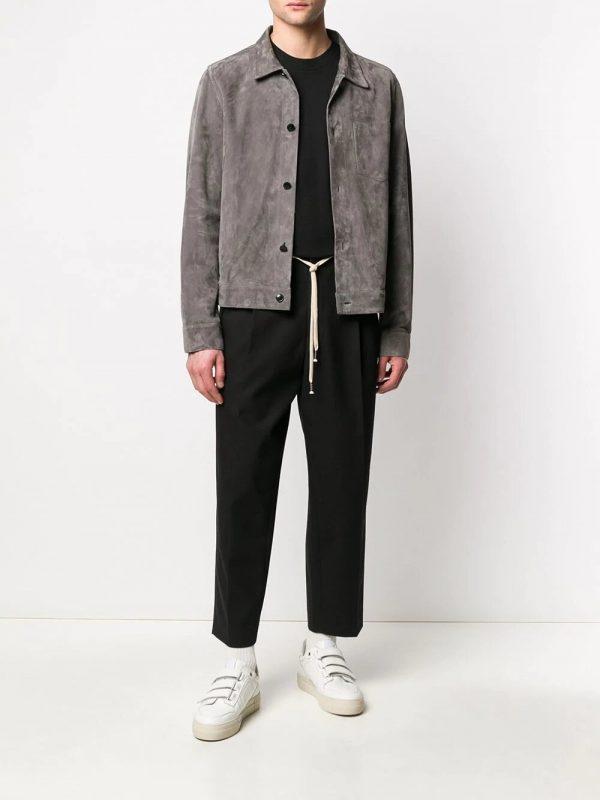 AMI Paris pantalon de costume à lien de resserrage noir