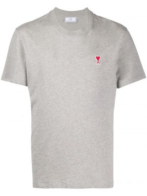 AMI Paris t-shirt à patch logo Ami De Cœur gris