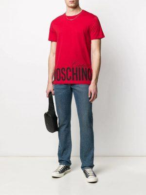 t-shirt à logo imprimé rouge