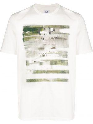 CP Company t-shirt effet usé à logo blanc
