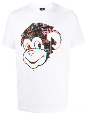 Men t-shirt Monkey imprimé à logo blanc