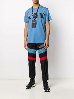 Men t-shirt à logo imprimé bleu