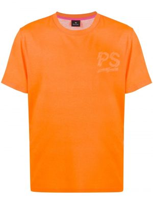 Men t-shirt à logo imprimé orange