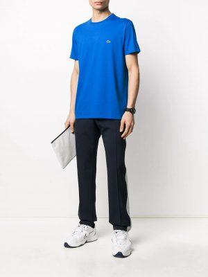 Lacoste t-shirt à logo brodé bleu