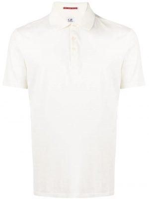 CP Company polo à logo brodé blanc