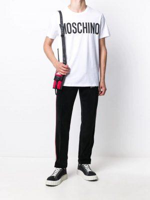 Men t-shirt à logo imprimé blanc