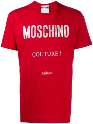 Men t-shirt à logo imprimé rouge