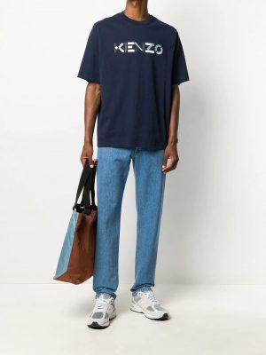 Kenzo t-shirt à logo imprimé bleu