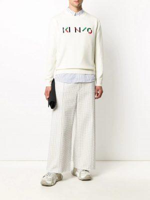 Kenzo pull à logo brodé blanc