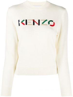 Kenzo femme pull à logo brodé blanc