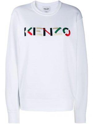 Kenzo femme sweat à logo brodé blanc
