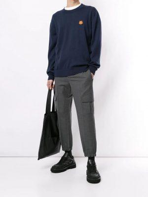 Kenzo pull à logo brodé bleu