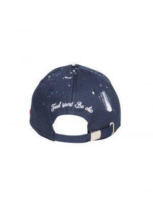 Accessoires casquette «the french touch» coton bleu marine peinture blanche