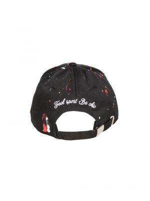 Accessoires casquette «the french touch» coton noir peinture rouge/blanche