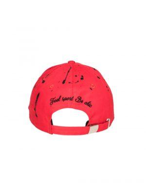 Accessoires casquette «the french touch» coton rouge peinture noire
