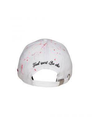 """Accessoires casquette """"the french touch"""" coton blanc peinture rose"""