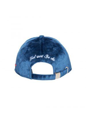 """Accessoires casquette velours de soie """"Auvergne"""" bleu"""