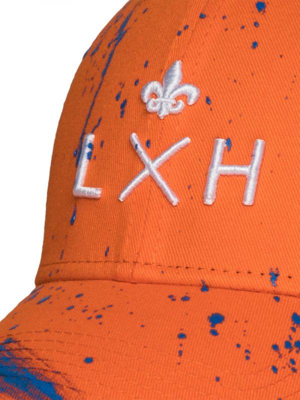 """Accessoires casquette """"the french touch"""" coton orange peinture bleu roi"""