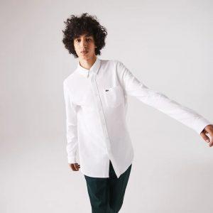 Chemises Chemise slim fit en coton biologique uni blanc