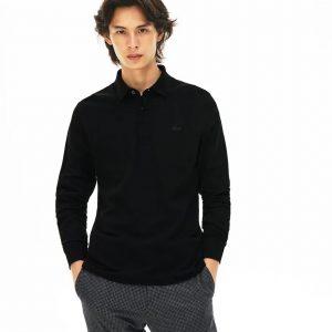 Lacoste Live Paris Polo Regular Fit Lacoste manches longues en coton stretch noir