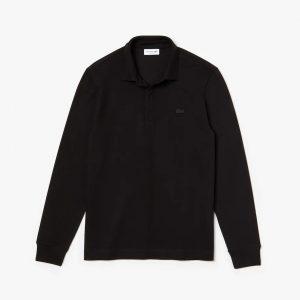Lacoste Paris Polo Regular Fit Lacoste manches longues en coton stretch noir
