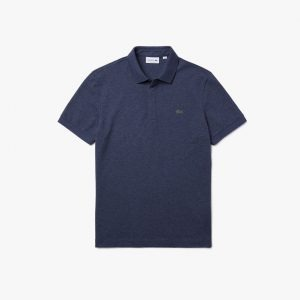 Lacoste Paris Polo regular fit Lacoste en piqué de coton stretch bleu chiné