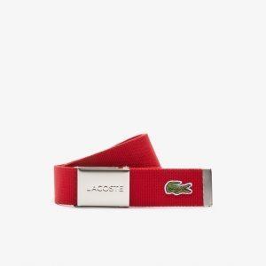 Lacoste Ceinture sangle boucle gravée Lacoste Édition Made in France rouge