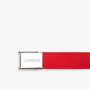 Accessoires Ceinture sangle boucle gravée Lacoste Édition Made in France rouge